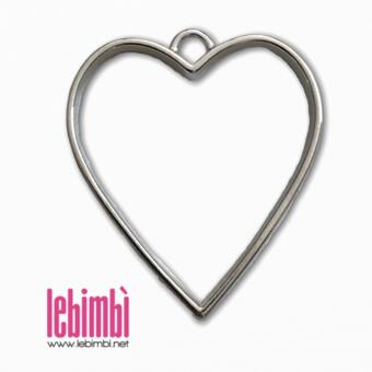 """Charm cavo """"Cuore"""", Silver Plated, 34x30mm - NICKEL FREE - 1 pezzo"""
