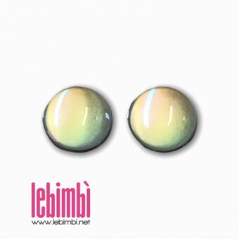 Cabochon in vetro Crystal AB,  10x5mm - 2 pezzi