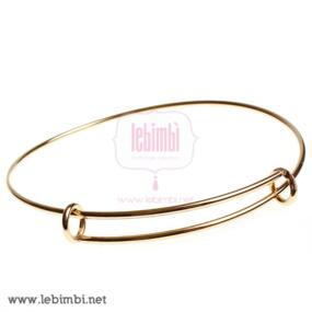 Base Bracciale in Acciaio Inox, Gold Plated, 22cm - NICKEL FREE - 1 pezzo