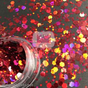 Glitter mix - Berry Red - 2 grammi