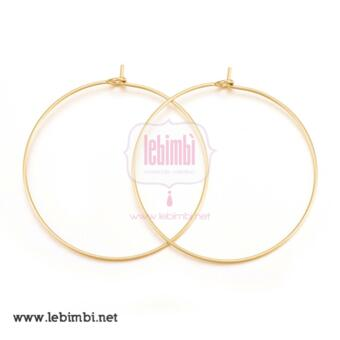 Anelle in acciaio inox gold plated, 37*35*0.7mm - 1 paio